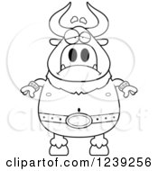 Clipart Of A Black And WhiteDepressed Minotaur Bull Man Royalty Free Vector Illustration