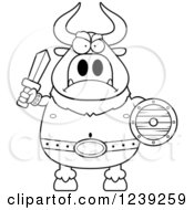 Clipart Of A Black And WhiteMinotaur Bull Man Ready For Battle Royalty Free Vector Illustration