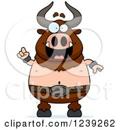 Clipart Of A Smart Minotaur Bull Man With An Idea Royalty Free Vector Illustration