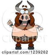 Smart Minotaur Bull Man With An Idea