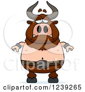 Clipart Of A Depressed Minotaur Bull Man Royalty Free Vector Illustration by Cory Thoman
