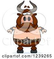 Clipart Of A Depressed Minotaur Bull Man Royalty Free Vector Illustration