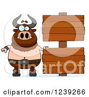 Clipart Of A Happy Minotaur Bull Man With Wood Signs Royalty Free Vector Illustration