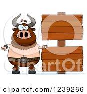 Happy Minotaur Bull Man With Wood Signs
