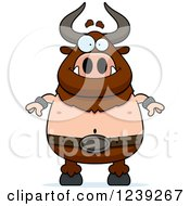 Clipart Of A Happy Minotaur Bull Man Royalty Free Vector Illustration by Cory Thoman