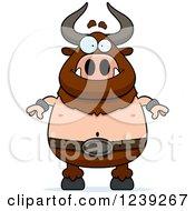 Clipart Of A Happy Minotaur Bull Man Royalty Free Vector Illustration