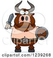Clipart Of A Minotaur Bull Man Ready For Battle Royalty Free Vector Illustration by Cory Thoman