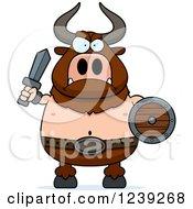 Minotaur Bull Man Ready For Battle