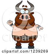 Clipart Of A Friendly Waving Minotaur Bull Man Royalty Free Vector Illustration