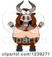 Clipart Of An Evil Minotaur Bull Man Royalty Free Vector Illustration