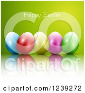 Clipart Of A Happy Easter Greeting Over Colorful Eggs On Green Royalty Free Vector Illustration