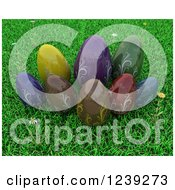 3d Colorful Chocolate Easter Eggs On Grass