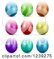 Clipart Of 3d Reflective Colorful Easter Eggs Royalty Free Vector Illustration