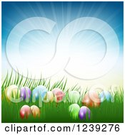 Clipart Of Colorful Easter Eggs In Grass Against A Sun Burst Royalty Free Vector Illustration
