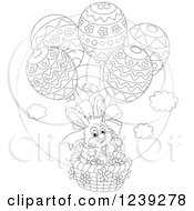 Clipart Of A Black And White Easter Bunny In An Egg Hot Air Balloon Basket Royalty Free Vector Illustration by Alex Bannykh