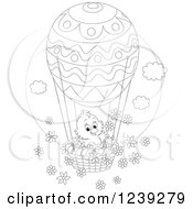 Clipart Of A Black And White Easter Chick On An Egg Hot Air Balloon With Flowers Royalty Free Vector Illustration by Alex Bannykh