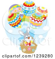 Clipart Of A Gray Easter Bunny Rabbit In An Egg Hot Air Balloon Basket Royalty Free Vector Illustration by Alex Bannykh