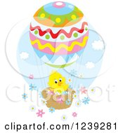 Clipart Of A Cute Easter Chick On An Egg Hot Air Balloon With Flowers Royalty Free Vector Illustration by Alex Bannykh