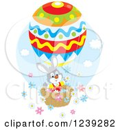 Clipart Of A Gray Easter Bunny Rabbit On An Egg Hot Air Balloon With Flowers Royalty Free Vector Illustration by Alex Bannykh