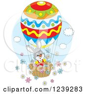 Clipart Of A Gray Easter Bunny On An Egg Hot Air Balloon With Flowers Royalty Free Vector Illustration by Alex Bannykh