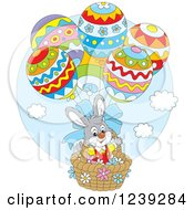 Clipart Of A Gray Easter Bunny In An Egg Hot Air Balloon Basket Royalty Free Vector Illustration by Alex Bannykh