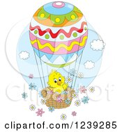 Clipart Of A Yellow Easter Chick On An Egg Hot Air Balloon With Flowers Royalty Free Vector Illustration
