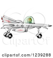 Clipart Of A Boy Astronaut Flying A Star Fighter Jet Royalty Free Illustration