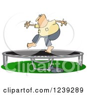 Chubby Caucasian Man Jumping On A Trampoline