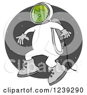 Clipart Of A Boy Astronaut Doing A Space Walk Over A Circle Of Stars Royalty Free Illustration by Dennis Cox