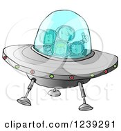 Clipart Of A Family Of Astronauts Flying A UFO Spaceship Royalty Free Illustration