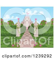 Clipart Of A Stone Path Leading To A Castle With Hearts Checkers And Roses Royalty Free Vector Illustration by Pushkin