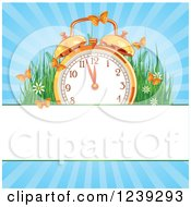 Clipart Of A Summer Time Alarm Clock With Butterflies Grasses And Sunshine Over A Banner Royalty Free Vector Illustration