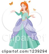 Clipart Of A Red Haired Princess With Spring Butterflies Royalty Free Vector Illustration by Pushkin