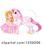 Clipart Of A Red Haired Princess Girl With A Cute Purple Unicorn Royalty Free Vector Illustration