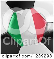 Clipart Of A 3d Close Up Of An Italian Flag On A Soccer Ball Royalty Free CGI Illustration
