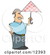 Prissy Man Carrying A Pink Umbrella Clipart Illustration