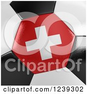 Clipart Of A 3d Close Up Of A Swiss Flag On A Soccer Ball Royalty Free Illustration
