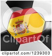 Clipart Of A 3d Close Up Of A Spanish Flag On A Soccer Ball Royalty Free Illustration