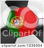 Clipart Of A 3d Close Up Of A Portuguese Flag On A Soccer Ball Royalty Free Illustration