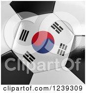 3d Close Up Of A South Korean Flag On A Soccer Ball