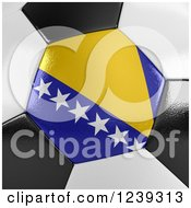 Clipart Of A 3d Close Up Of A Bosnia Herzegovina Flag On A Soccer Ball Royalty Free CGI Illustration