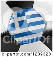 Clipart Of A 3d Close Up Of A Greek Flag On A Soccer Ball Royalty Free CGI Illustration