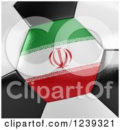 Clipart Of A 3d Close Up Of An Iran Flag On A Soccer Ball Royalty Free CGI Illustration