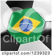 Clipart Of A 3d Close Up Of A Brazilian Flag On A Soccer Ball Royalty Free CGI Illustration