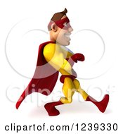 Clipart Of A 3d Caucasian Yellow And Red Super Hero Man Walking Royalty Free Illustration