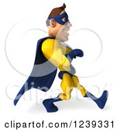 Clipart Of A 3d Caucasian Yellow And Blue Super Hero Man Walking 2 Royalty Free Illustration