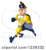 Clipart Of A 3d Caucasian Yellow And Blue Super Hero Man Walking Royalty Free Illustration