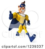 Clipart Of A 3d Caucasian Yellow And Blue Super Hero Man Walking And Giving A Thumb Up Royalty Free Illustration