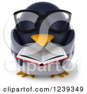 Clipart Of A 3d Bespectacled Penguin Reading A Book Royalty Free Illustration