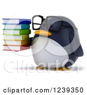 Clipart Of A 3d Bespectacled Penguin Holding A Stack Of Books Royalty Free Illustration